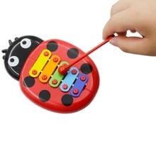 Красочные 5 тонов Дети ксилофон Glockenspiel мультфильм форма божьей коровки с молотком ударный музыкальный инструмент игрушка