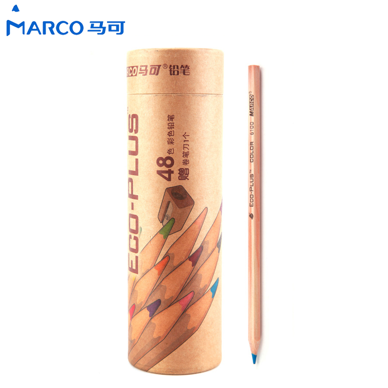 Marco Eco Plus Colored Pencils 24 36 48 Colors Oil Base Fine Art kids Colouring Pencils Artist Sketch Drawing Gift Box Packing marco renoir 3220 black wood colored pencils 24 36 48 colors watercolor pencils set for drawing lapis professional art supplies