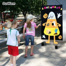 OurWarm Halloween Corn Hole Toss Game for Kids Party Felt Pumpkin Ghost Decoration Funny Outdoor Home Games
