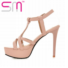 Big Size 32-43 Gladiator Sandals Fashion High Heels Summer Shoes Woman Platform Sandals Sexy Open toe Women's Sandals