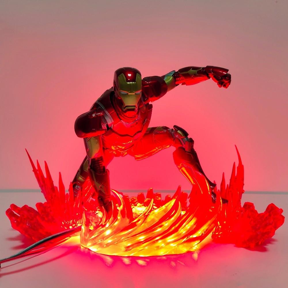 Avengers Endgame Iron Man LED Flash Light Action Figures Toy Movie Avengers Iron Man Power Scene Figurine Diorama