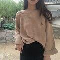 2016 otoño y el invierno nueva loose mangas eran delgados aguja gruesa suéter de las mujeres versión Coreana de la primera serie de color puro roun