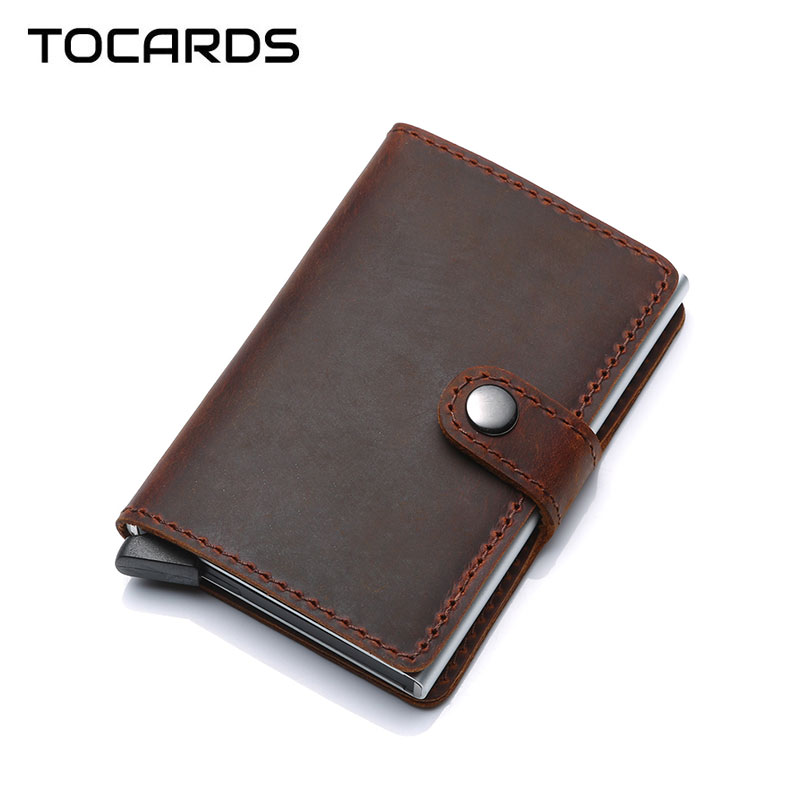 RFID 2018 Crazy Horse Genuine Leather Card Holder Vintage Aluminium Business ID Credit Card Case Wallet Purse for Men Women