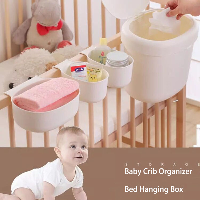 Bed Hanging Box,Portable Baby Crib Organizer for Baby Essentials Diaper Storage Cradle Bag Bedding Set
