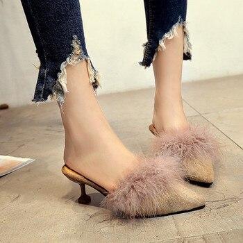 New women fur slides slippers for outside summer fashion shoes thin heel black green beige brown Khaki flip flops sandals grils