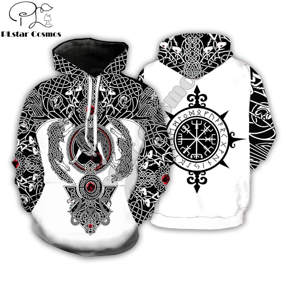PLstar Cosmos Fashion Men hoodies Viking Tattoo 3D All Over Printed Unisex Hoodie streetwear Casual Hooded Sweatshirt Drop ship