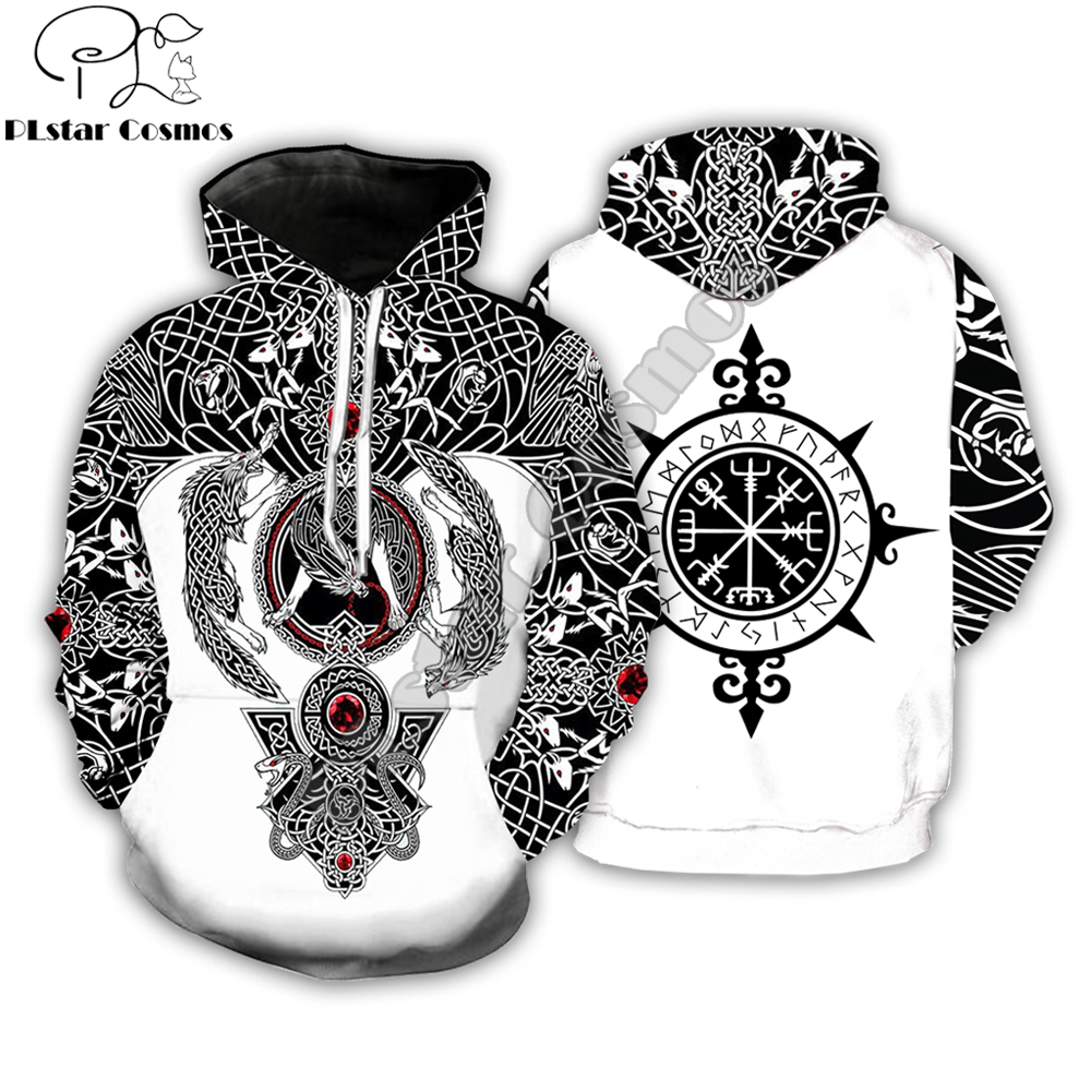 PLstar Cosmos Fashion Men Hoodies Viking Tattoo 3D All Over Printed Unisex Hoodie Streetwear Casual Hooded Sweatshirt Drop Ship