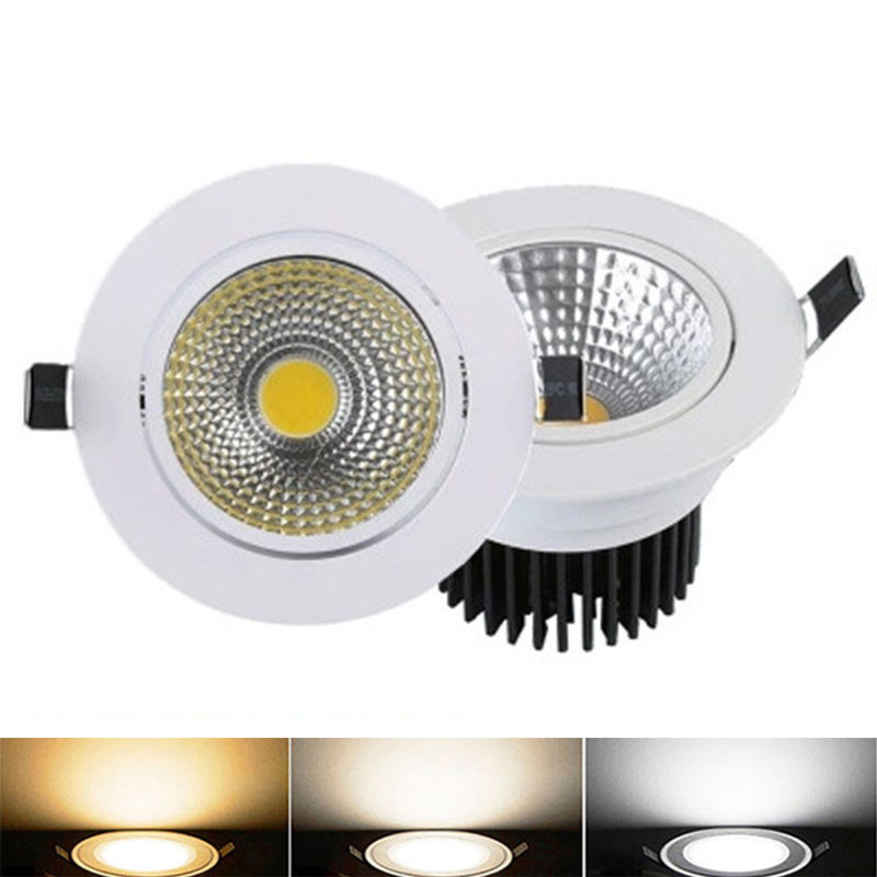 100X DHL Dimmable LED Downlight 5W/7W/9W/15W COB Downlight AC85-265V LED  Light Indoor Lighting