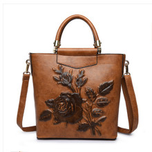 Women Leather Handbag Vintage Bucket Bags Embossing Printing Retro Designer Floral Handbag 2018 Luxury Tote Bag High quality