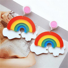 European Fashion Personality Women Night Club Earrings Accessories Big Acrylic Rainbow For Party Jewelry