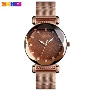 Image 1 - Mode Frauen Quart Uhr Luxus Starry Zifferblatt frauen Uhren Damen Kleid Armbanduhr Wasserdicht Armband Uhr Top Marke SKMEI