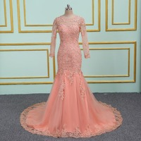 New arrival sexy party evening dresses Vestido de Festa mermaid prom dress lace beading Robe De Soiree dress with Zipper