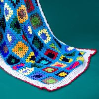 Colorful Handmade hook flowers cotton Lace Chic blue rectangle Crocheted Blanket / Many Uses wrap table cloth / Unique Gifts