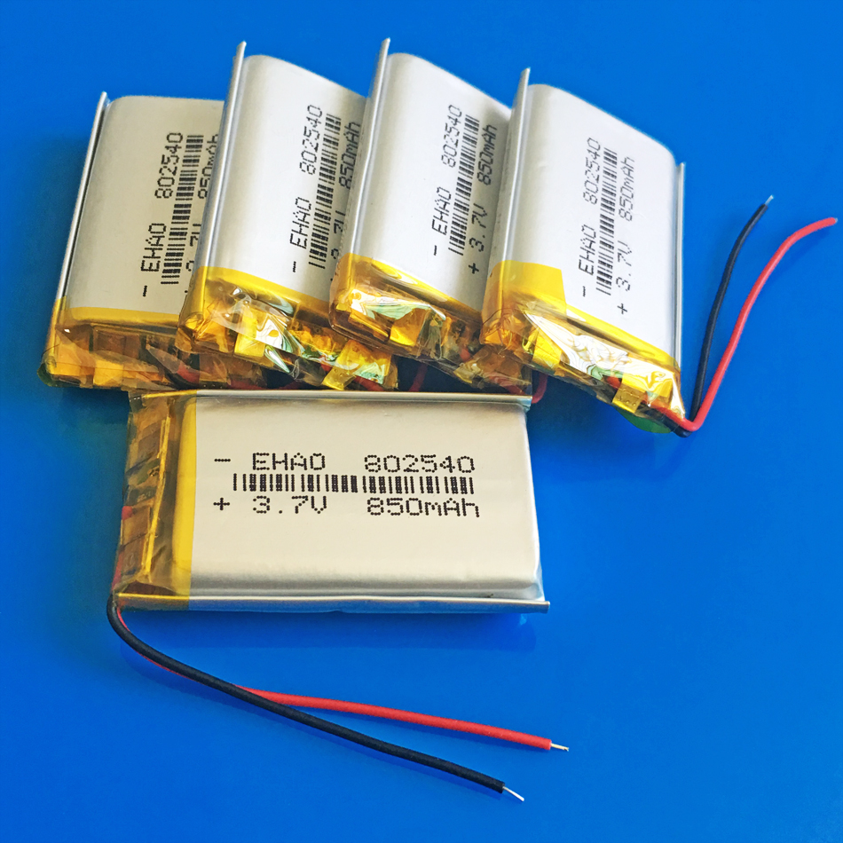 5 x <font><b>802540</b></font> <font><b>3.7V</b></font> 850mAh Polymer lithium Lipo Li battery Rechargeable customized wholesale CE FCC ROHS MSDS quality certification image