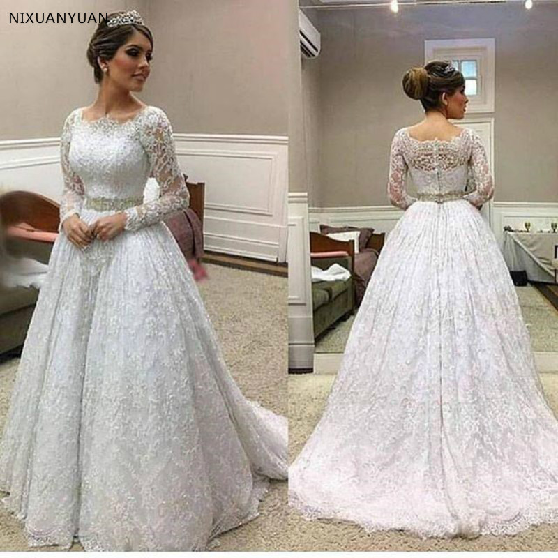 2020 Elegant Long Sleeve Lace Bridal Gown For Garden Wedding Dress