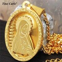 Hurtownie S. Steel Złoty Dziewica Maryja Oval Medal Charm Nuestra Senora Naszyjnik Matki Jezusa Christian Biżuteria LQ1603