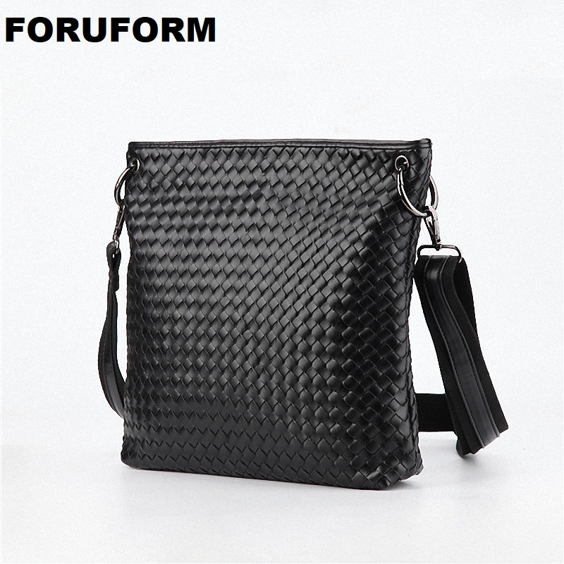 New Arrive Men Weave Messenger Bags Pu Leather Shoulder Bag men's Travel Bags High Quality Male Business Bags LI-1036 casual canvas women men satchel shoulder bags high quality crossbody messenger bags men military travel bag business leisure bag