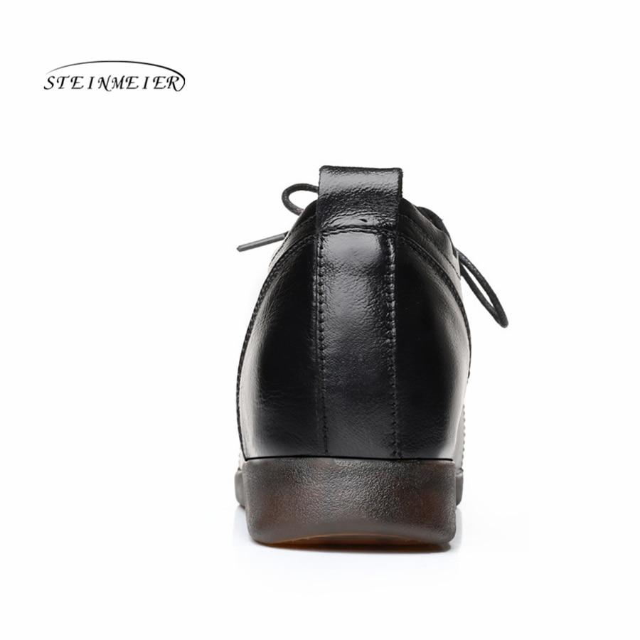 Cuir Talon 2018 Noir Enceinte Appartements Femmes Chaussures Doux Maman En Plat Mocassins Lacets Black Véritable À Dames IFwqFU1v