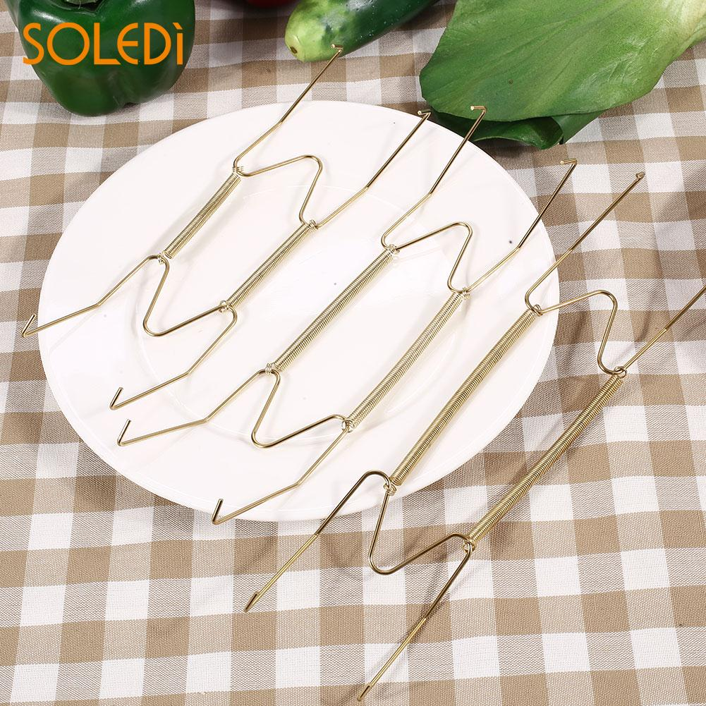 Practical Hook Plate Spring Wall Hanger Holder Hanging Beautiful W-Type Metal Wire Gold Parlour Tableware Home Decoration