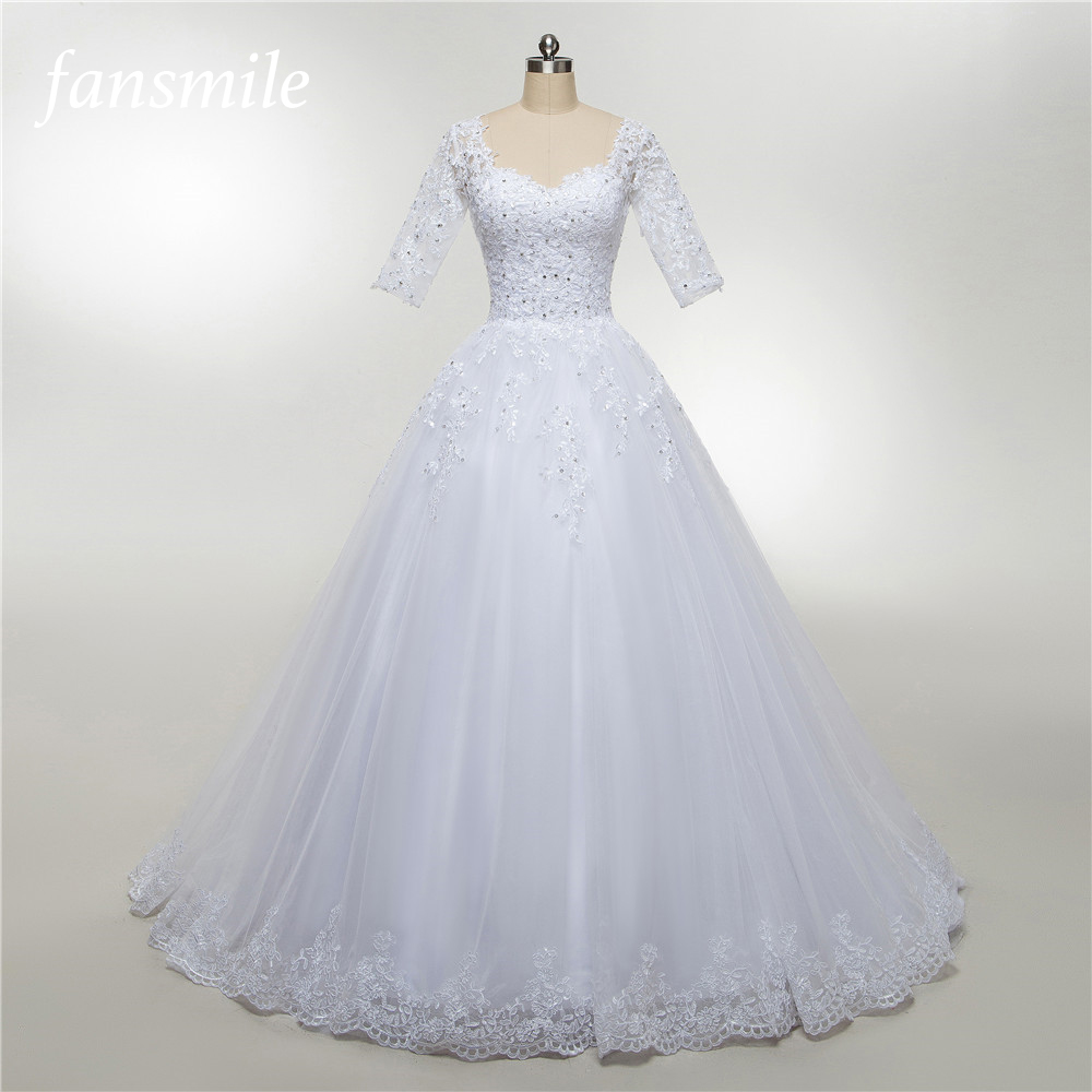 Fansmile Half Sleeve Vestido De Noiva Lace Wedding Dress 2019 Tulle Customized Plus Size Wedding Gowns Bridal Dress FSM-472T