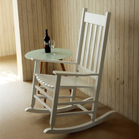 Modern Wood Rocking Chair Wooden Furniture Presidential Rocker White Finish Indoor Outdoor Balcony Porch Garden Adult