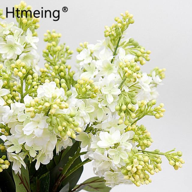Lilac Artificial Flowers Wedding Bouquet Home Fl Arrangements Decorations Vintage Spray White
