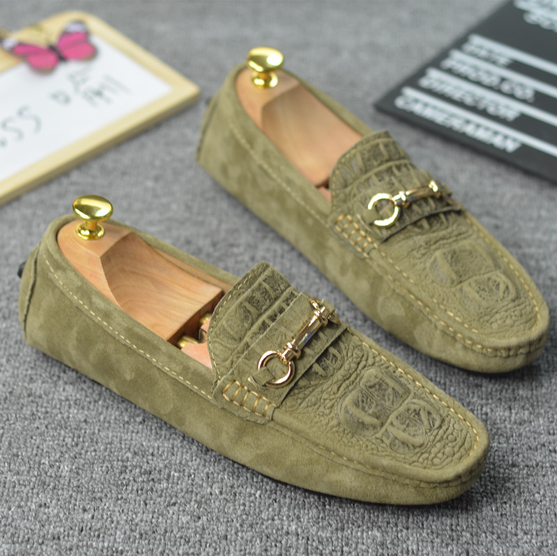 Summer Male Flats Pigskin Alligator grain Moccasins Men Loafers Genuine Leather Driving shoes 2 5