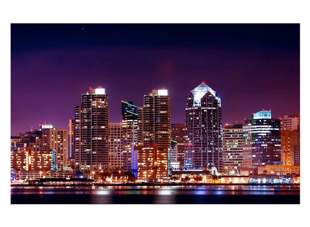 panel de la noche de la ciudad imagen imprimir pintura poster pared modular para la