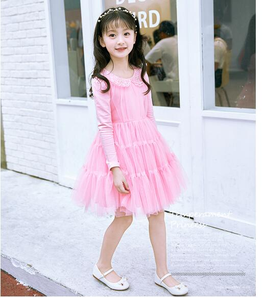 Girl's Fashion Princess Dresses 2017 Autumn Long Sleeve Kids Gauze Knee Length tutu dress CHildren's Street Style Cake Dress autumn winter women knitted dresses new fashion sheath bodycon pencil dress long sleeve sexy v neck solid slim knee length dress