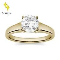 Муассанит кольцо 1ct 6,5 мм Муассанит Обручение Юбилей Кольцо Настоящее 14 К твердого желтого золото Lab АЛМАЗ Свадебные ювелирный бренд