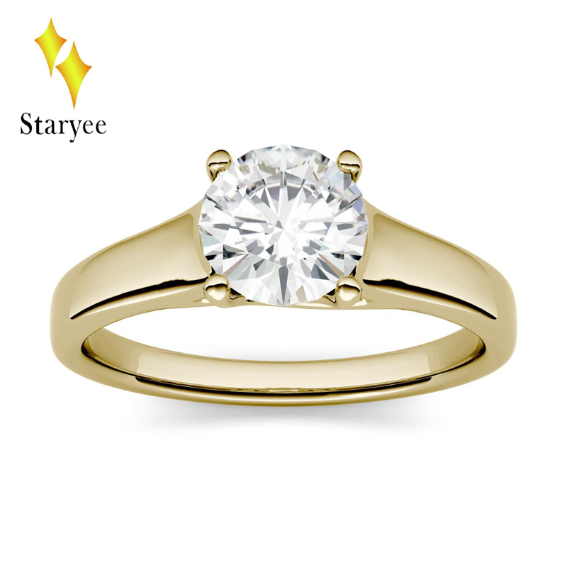 Moissanite Ring 1ct 6.5mm Moissanite Engagement Anniversary Ring Real 14K Solid Yellow Gold Lab Diamond Wedding Band Jewelry