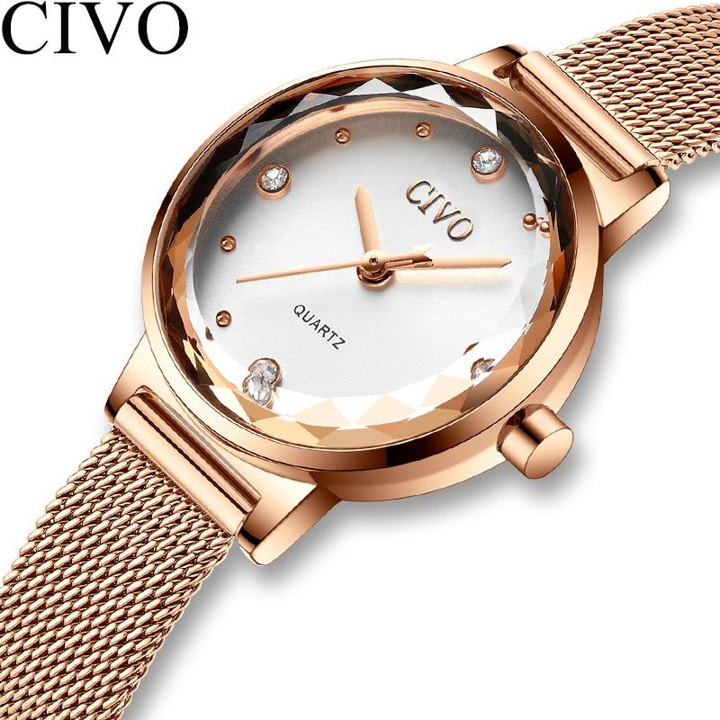CIVO 2019 Luxury Casual Watches Ladies Waterproof Mesh Watchband Quartz Watch Ladies Wristwatches Gift For Wife Relogio Feminino