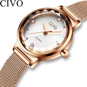 Image 1 - Роскошные повседневные женские часы CIVO 2020, водонепроницаемые кварцевые наручные часы с сетчатым ремешком, женские наручные часы, подарок для жены, женские часы