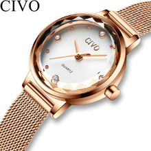 Civo 2020高級カジュアル腕時計レディース防水メッシュ時計バンドクォーツ時計レディース腕時計ギフト妻レロジオfeminino
