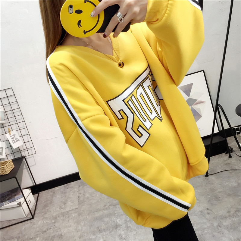 Large Size Girl Student Loose warmer Velvet Thick womens clothing Printing hoodie Fahion