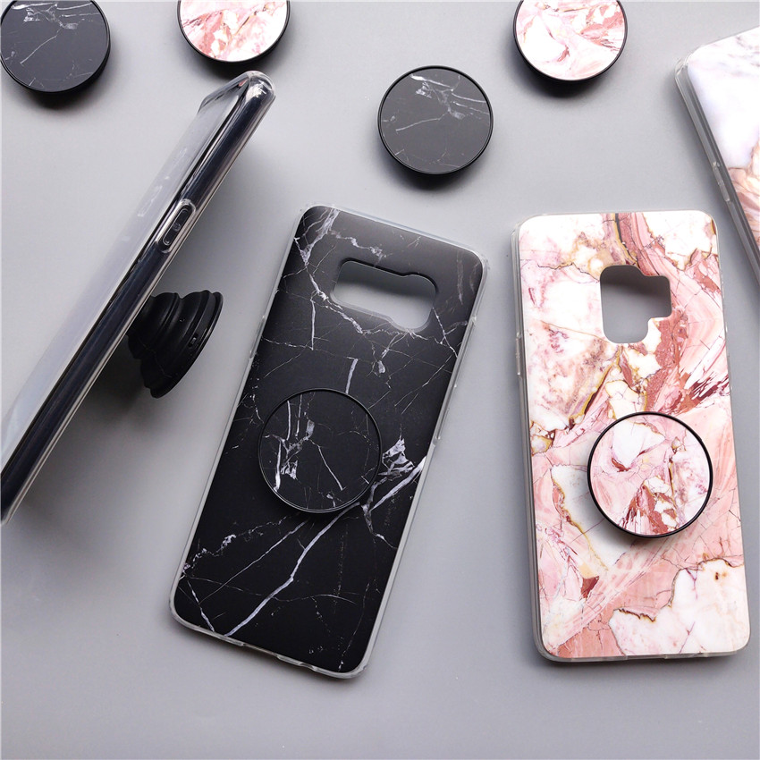 best loved f8c15 96473 Marble Samsung Galaxy S7 Edge S8 Plus Case Grip Stand Holder Silicone Phone  Samsung S8 S9 Plus Note 8