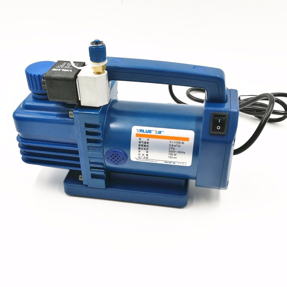R12, R22 New Refrigerant 1 L Vacuum Pump V-i115S-M Air Conditioning Fridge Vacuum Pump With Solenoid Valve 150 W  2 Pa 3.6 m3/h hs 1221 hs 1222 r410a refrigeration charging adapter refrigerant retention control valve air conditioning charging valve