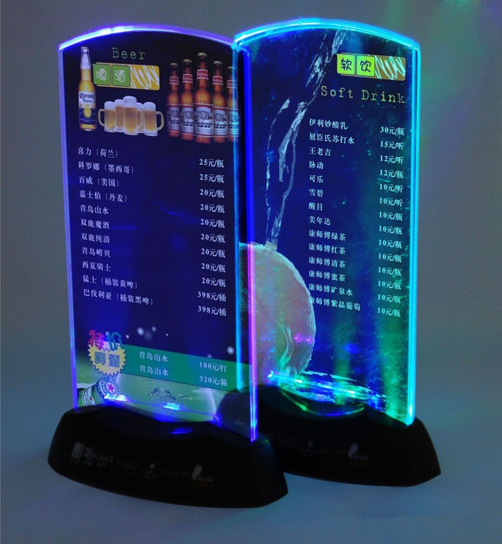 5pcs Acrylic Flash LED Light up table menu Acrylic Illuminated Restaurant Card Display Holder Stand High Quality