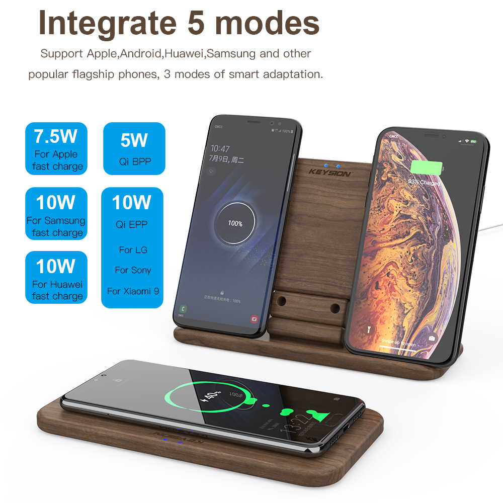 Image 5 - KEYSION 5 Coils Dual QI Fast Wireless Charger Stand/Pad convertible Charging for iPhone 11 XS Max XR Samsung Note 10 S10 AirPods-in Wireless Chargers from Cellphones & Telecommunications