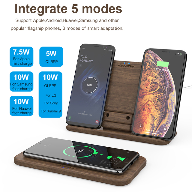 KEYSION 5 Coils Dual QI Fast Wireless Charger Stand/Pad convertible Charging for iPhone 11 XS Max XR Samsung Note 10 S20 AirPods