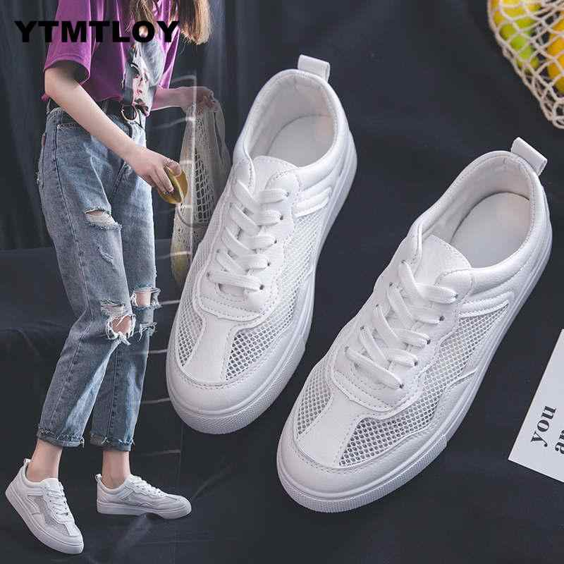 Nieuwe Tenis Feminino Lace-up Off Witte Schoenen Vrouw Pu Leer Vrouwelijke Toevallige Vrouwen Sneakers Zapatos De Mujer Mesh leuke Zapatillas