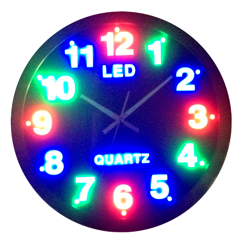 Circle Led Wall Clock Plug In Digital Mute Clock And Watch