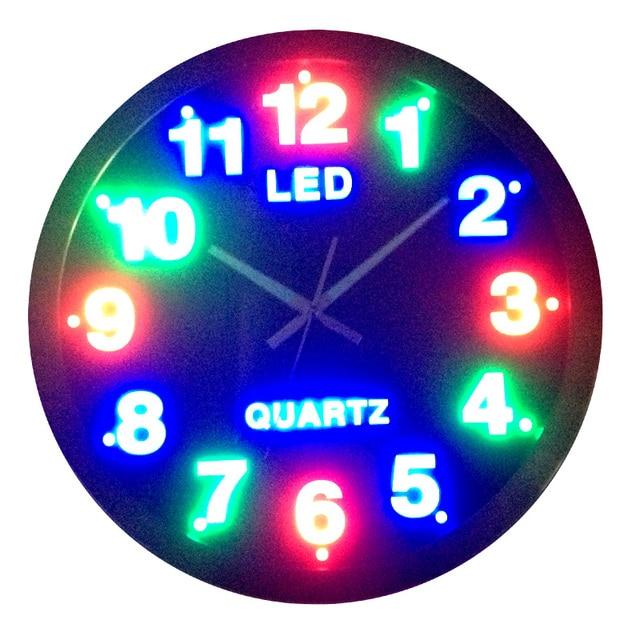 Circle Led Wall Clock Plug In Digital Mute Clock And Watch