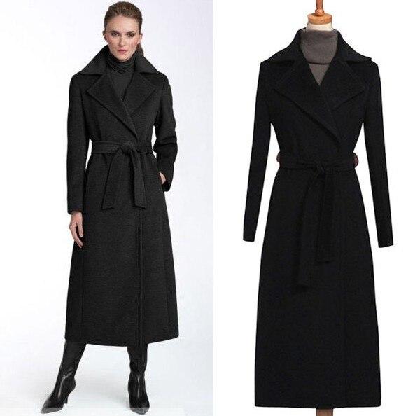 2017 High street fashion women black winter jacket long cashmere ...