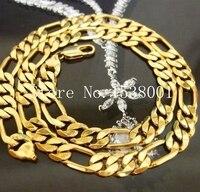 Изысканный Для мужчин желтый Gold Filled Твердые Цепочки и ожерелья 10 мм Фигаро цепочка 24