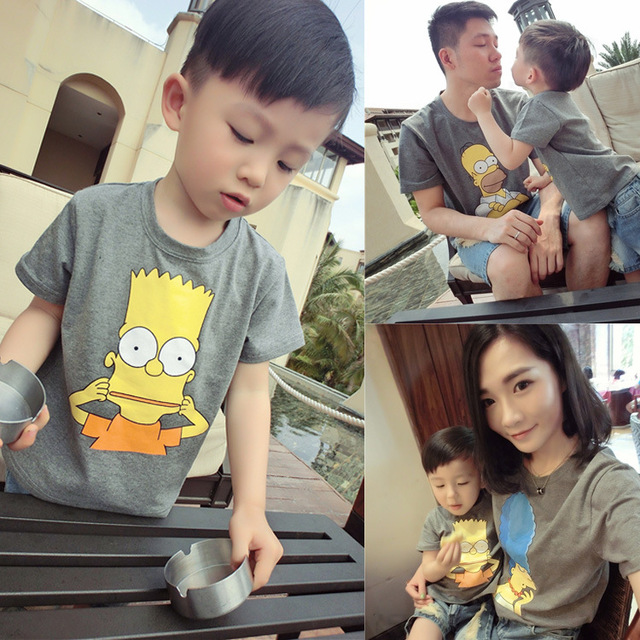 New arrive Summer Family Matching Cartoon Cute T Shirts Dad & Mom & Son & Daughter Fashion printed tees Family Outfits