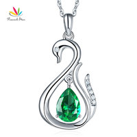 Peacock Star 14K White Gold 2.5 Ct Green Topaz Swan Pendant Necklace 0.06 Ct Diamond