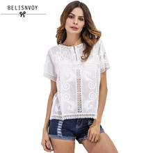 2017 New Summer Women Blouses Hollow Out Crochet Lace Shirt Women Tops Beach Style Short Sleeve Zipper White Blouse Body Shirts