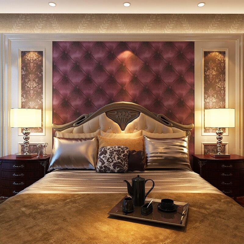 ФОТО HANMERO European Style Luxury Design Soft Faux Leather Wallpaper Moisture-proof Embossed Vinyl Living Room TV Background QZ0109