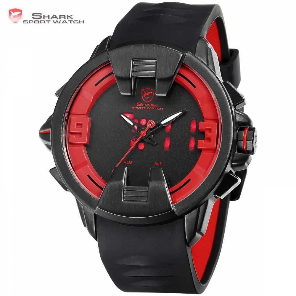 Wobbegong Акула Новый дизайн бренда мужские часы будильник с двумя часовыми поясами цифровой аналоговый Дисплей Для мужчин кварцевые Geek Для Мужчин's Наручные часы/SH558